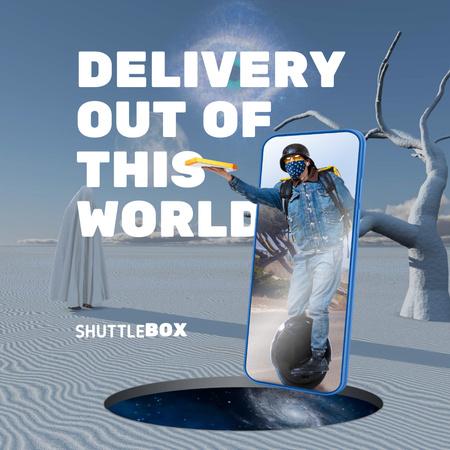 Funny Illustration of Futuristic Delivery Instagram – шаблон для дизайну