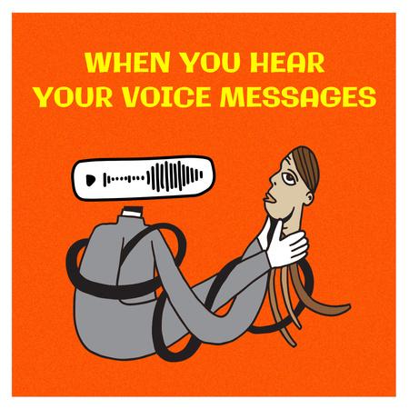 Ontwerpsjabloon van Instagram van Funny Illustration about Voice Messages