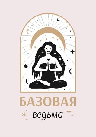 Astrological Inspiration with meditating Witch Poster – шаблон для дизайна