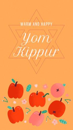 Ontwerpsjabloon van Instagram Story van Yom Kippur Holiday Greeting with Apples Illustration