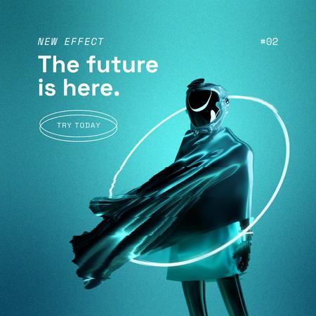 Man in Cyberspace with Neon Circle Instagram Modelo de Design