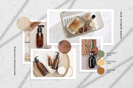 Natural Cosmetics in glass bottles Mood Board – шаблон для дизайна