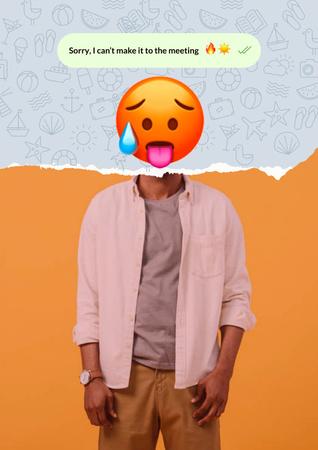 Funny Illustration of Hot Face Emoji with Male Body Poster Modelo de Design