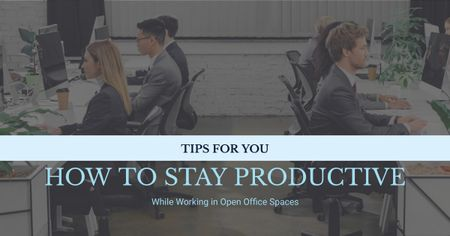 Productivity Tips Colleagues Working in Office Facebook AD Modelo de Design