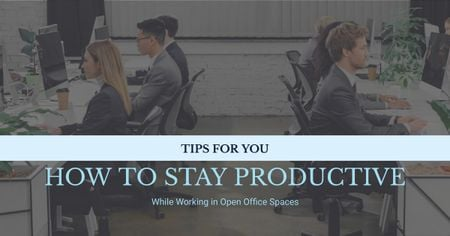 Modèle de visuel Productivity Tips Colleagues Working in Office - Facebook AD