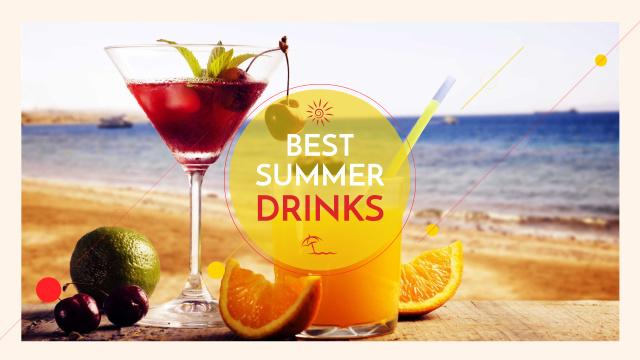 Summer cocktail on tropical vacation Youtube Modelo de Design