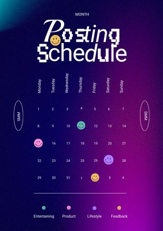 Bright Planning of Blog Posting Schedule Planner – шаблон для дизайна