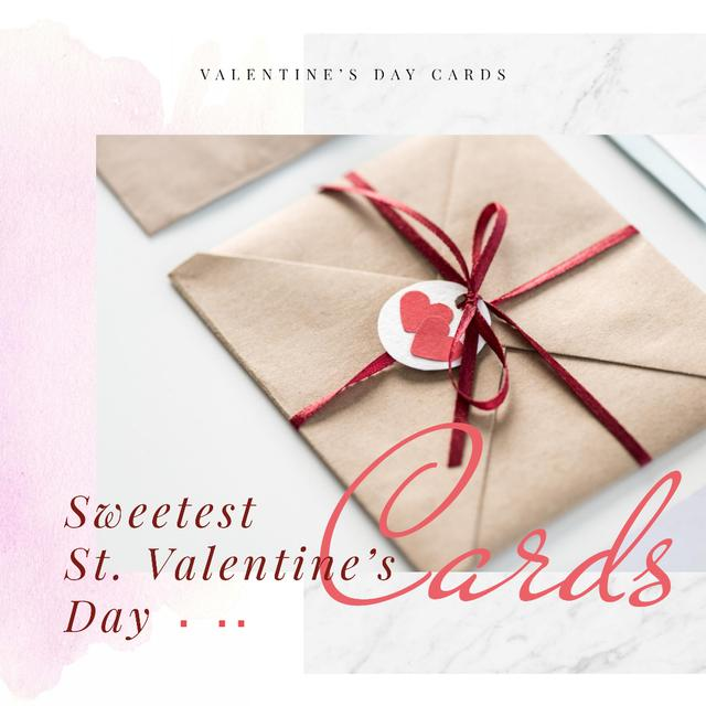 Valentine's Day Envelope with Hearts Instagram ADデザインテンプレート