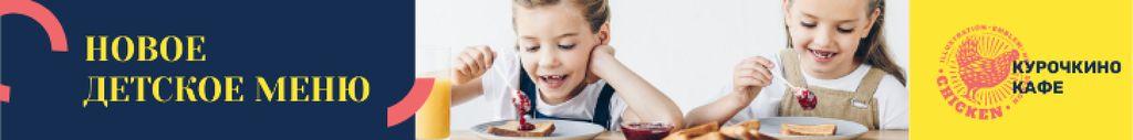 Kids Menu Offer Girls Enjoying Their Meal Leaderboard – шаблон для дизайна
