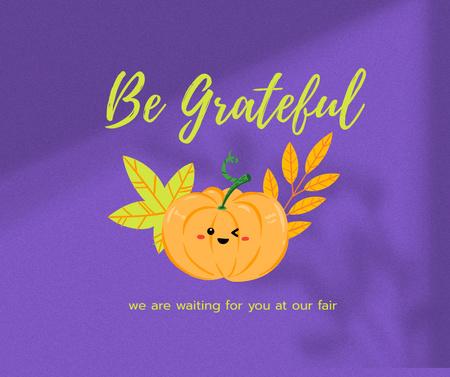Plantilla de diseño de Thanksgiving Holiday Greeting with Cute Pumpkin Facebook