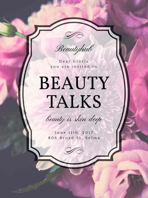 Beauty Event announcement on tender Spring Flowers Poster US – шаблон для дизайна