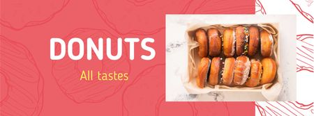 Delicious glazed donuts in box Facebook cover Modelo de Design