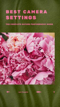 Ontwerpsjabloon van Instagram Story van Photography Tips with Tender Pink Flowers