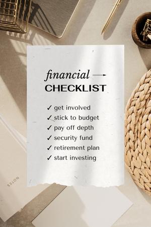 Plantilla de diseño de Financial Checklist on working table Pinterest