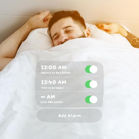 Happy Man in bed for Barbershop promotion Instagram – шаблон для дизайну