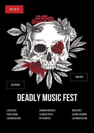 Music Festival on Halloween Announcement Poster – шаблон для дизайну