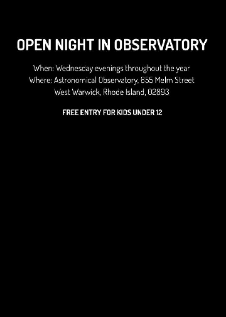 Open night event in Observatory — Modelo de projeto