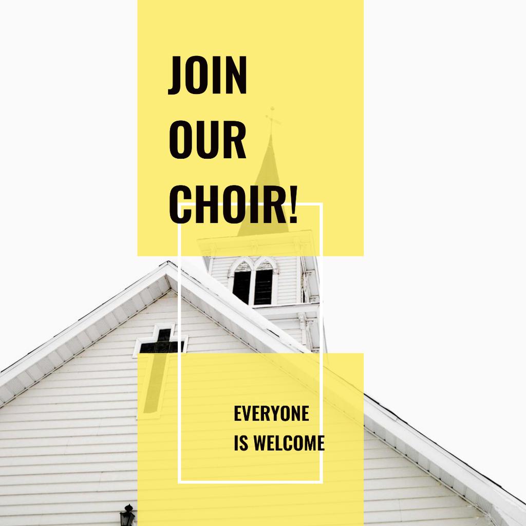 Designvorlage Facade of Church with Cross in White für Instagram AD