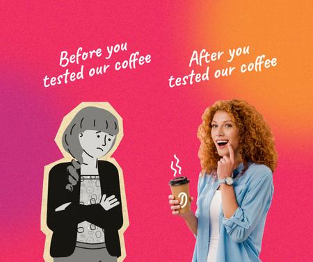 Platilla de diseño Funny Coffeeshop Promotion with Woman holding Cup Facebook