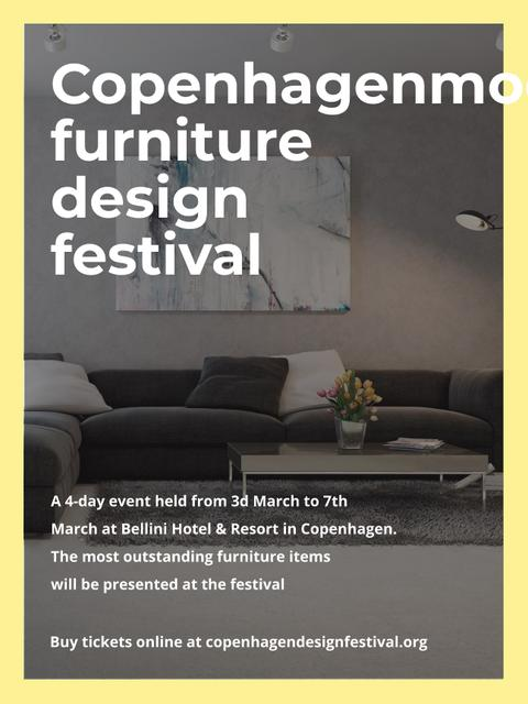 Interior Decoration Event Announcement with Sofa in Grey Poster US – шаблон для дизайна