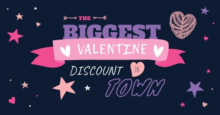 Valentine's Day Discount Hearts and Stars Facebook AD Modelo de Design