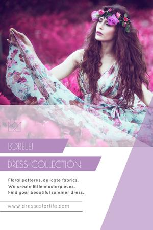 Fashion Collection Ad with Woman in Floral Dress Pinterest Tasarım Şablonu