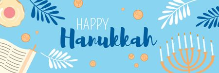 Plantilla de diseño de Happy Hanukkah Greeting with Menorah in Blue Email header