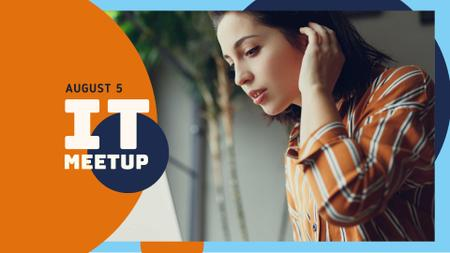IT Event Announcement with Woman in bluetooth headset FB event cover Modelo de Design