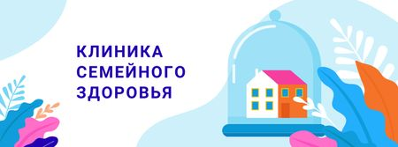Healthcare concept with Home under Dome Facebook cover – шаблон для дизайна