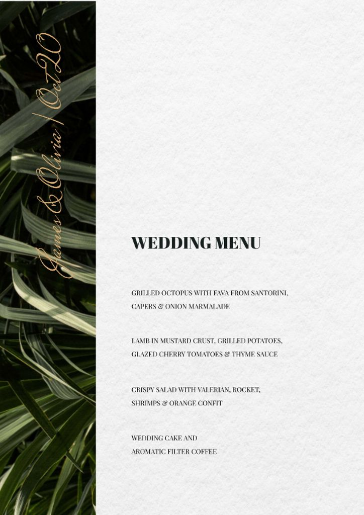 Wedding Meal list on Leaves pattern — Créer un visuel