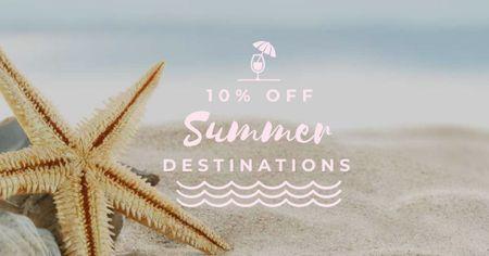 Plantilla de diseño de Starfish in Sand by the Sea Facebook AD
