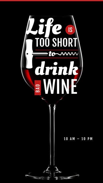 Plantilla de diseño de Wine Store Ad with glass with Corkscrew Instagram Story