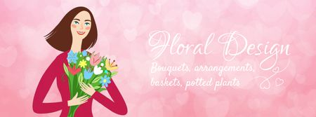 Ontwerpsjabloon van Facebook Video cover van Happy girl holding bouquet