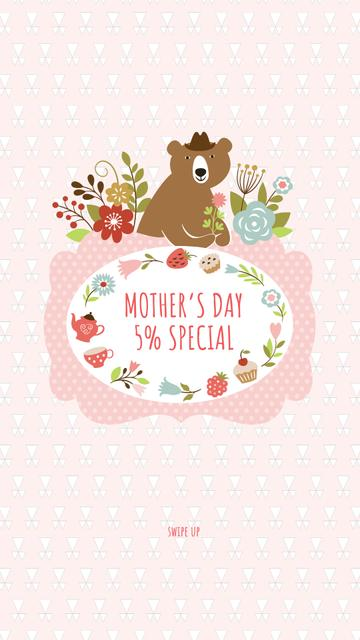 Modèle de visuel Mother's Day Special Offer with Cute Bear - Instagram Story