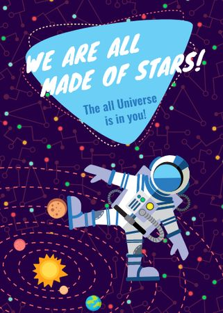 Template di design Inspiration Quote with Astronaut in space Invitation