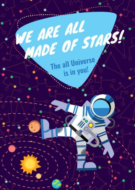 Plantilla de diseño de Inspiration Quote with Astronaut in space Invitation