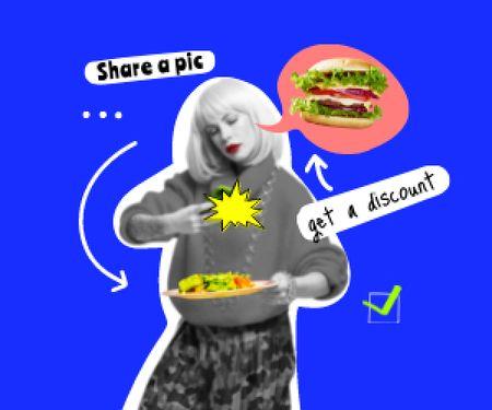 Designvorlage Woman dreaming of Delicious Burger für Medium Rectangle