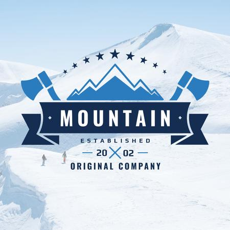 Mountaineering Equipment Company Icon with Snowy Mountains Instagram AD Design Template