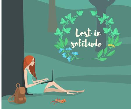 Template di design Solitude Inspiration with Girl Working on Laptop in Park Facebook