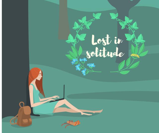 Solitude Inspiration with Girl Working on Laptop in Park Facebook Tasarım Şablonu