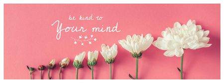 Inspirational Phrase with Tender White Flowers Facebook cover Design Template