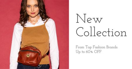 Fashion Collection Ad with Stylish Girl Facebook AD Modelo de Design