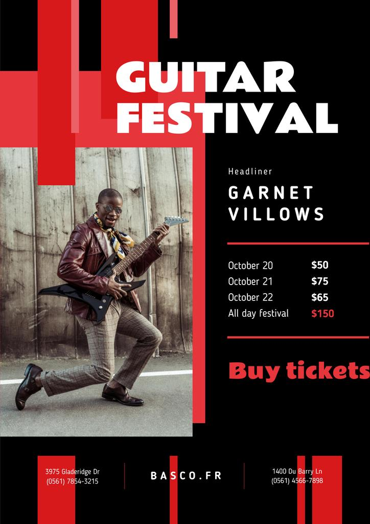 Music Festival Invitation with Man Playing Guitar Posterデザインテンプレート