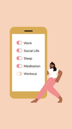 Plantilla de diseño de Mental Health Inspiration with Woman and Smartphone Instagram Story
