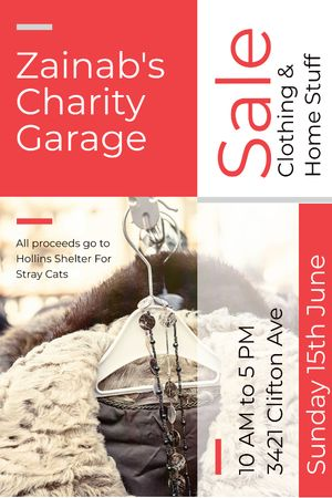 Charity Sale Announcement Clothes on Hangers Tumblrデザインテンプレート