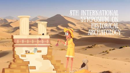 Modèle de visuel Archaeologist wiping dust on ruins - Full HD video