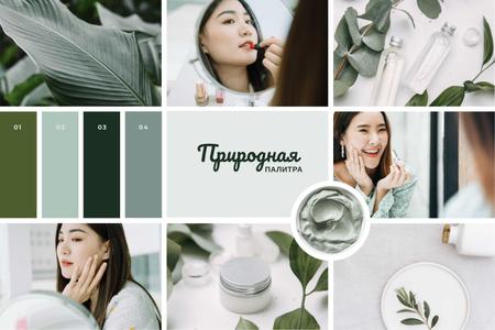 Woman applying Green cosmetics Mood Board – шаблон для дизайна