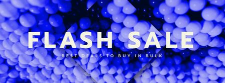 Flash Sale Ad with Purple Bubbles Texture Facebook Video coverデザインテンプレート