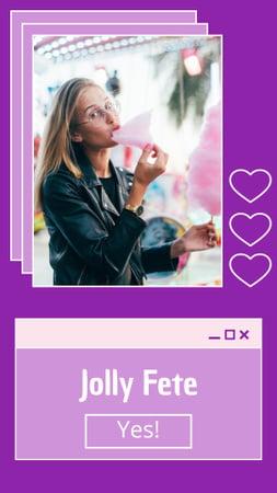 Plantilla de diseño de Party Announcement with Woman eating Cotton Candy Instagram Story