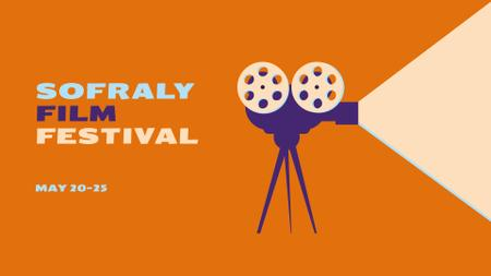 Film Festival Announcement with Vintage Movie Projector FB event coverデザインテンプレート